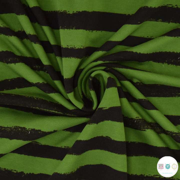 Green Groovy Stripe - French Terry - Cotton Jersey - 245gr/m2 -Dressmaking Fabric