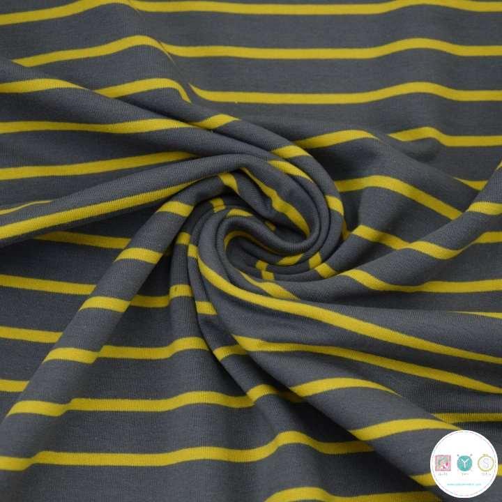 Grey and Mustard Stripe - Cotton Jersey - 230gm/2 - Dressmaking Fabric