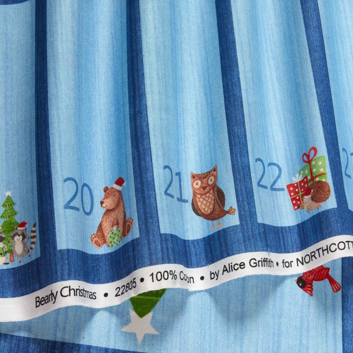 Bearly Xmas Christmas Advent Calendar Fabric Panel
