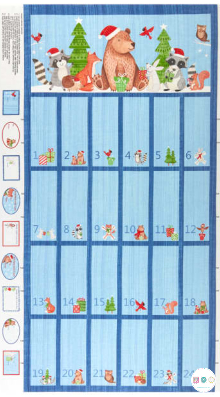 Bearly Xmas - Christmas Advent Calendar - Fabric Panel - by Alice Griffith for Northcott Fabrics - Patchwork & Quilting