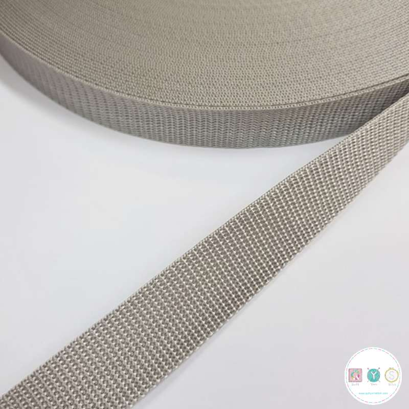 25mm Stone Grey Beige - Polypropylene Webbing - Bag Strapping - Haberdashery