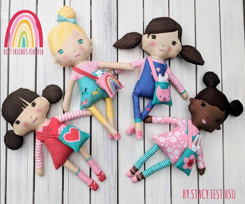 Best Friends Forever Doll Panel - BFF - by Stacy Iest Hsu for Moda Fabrics - Patchwork & Quilting
