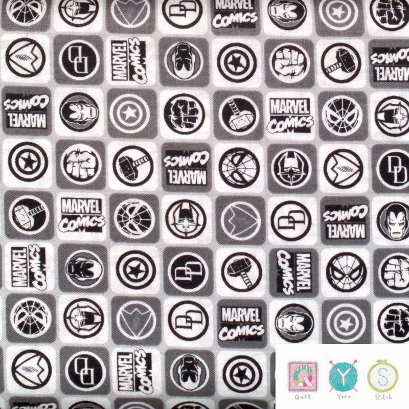 Marvel Comic Logo Fabric Black And White Bg107 Quilt Yarn Stitch