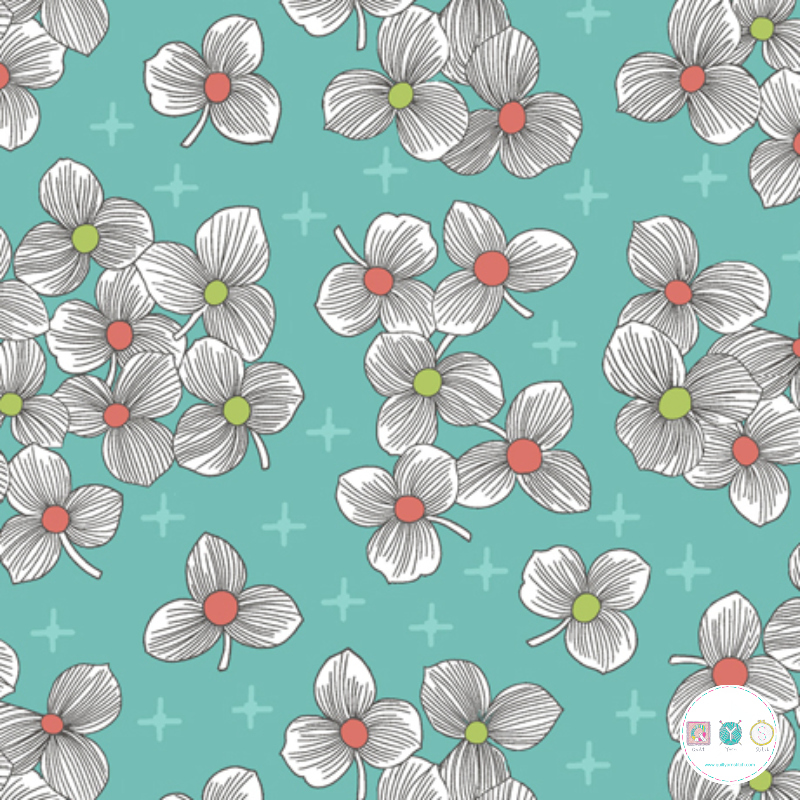 Lexi - Blue Modern Floral - by Joan Hawley of Lazy Girl Designs - Quilting Treasures - BL06a - Patchwork & Quilting