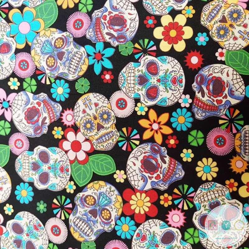 Mexican Skulls On Black - Día de Muertos - Cotton Poplin Fabric - by Rose & Hubble - Craft & Dressmaking