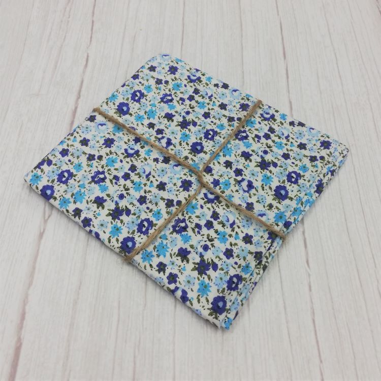 Quilting Fabric - Cotton Square with Ditsy Blue Floral On Snow by Sew Cool