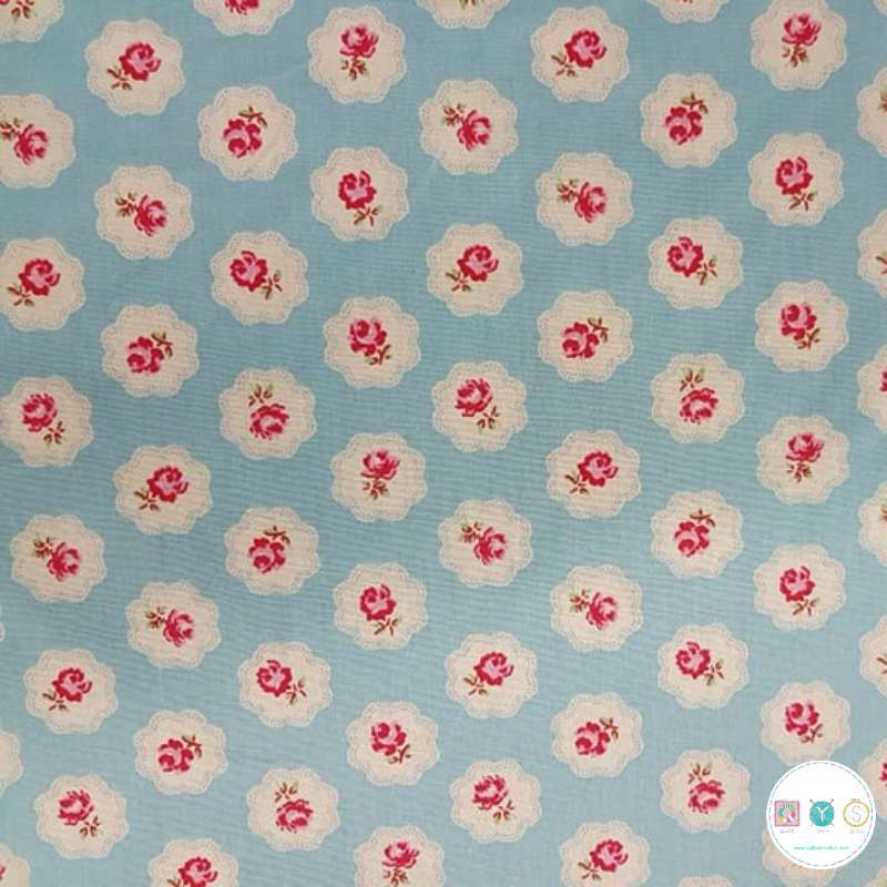 Roses on Blue Cameo - Cotton Poplin by Rose & Hubble - Patchwork & Quilting
