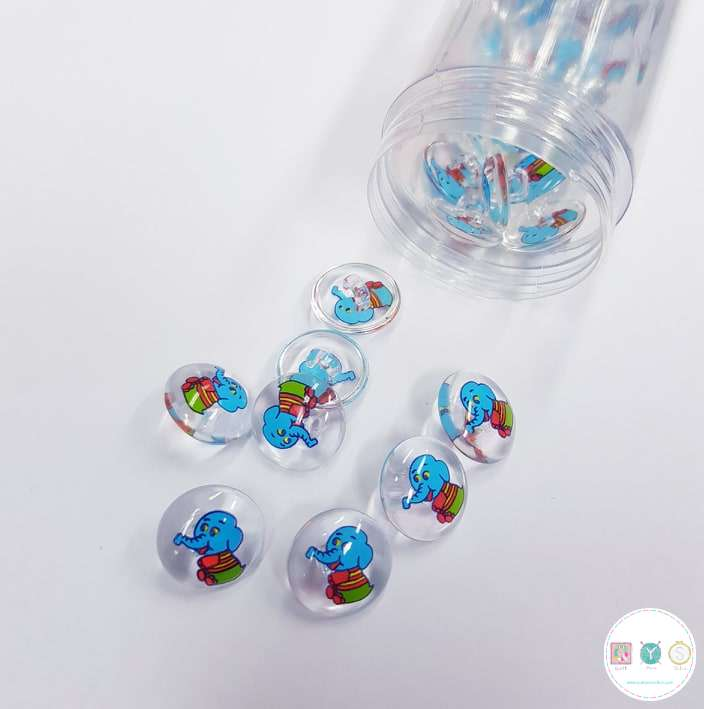 Elephant Button - 12mm - Low Shank - Clear and Blue Plastic Button - Haberdashery