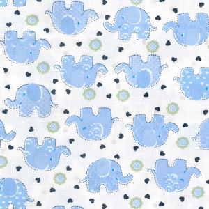 Baby Blue Elephants Material - Cotton Poplin Fabric by Rose and Hubble
