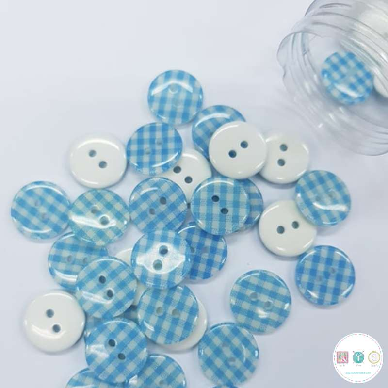 Baby Blue Gingham - 12mm - 2 Hole - Flat - Sew-Through - Plaid - Button - Haberdashery