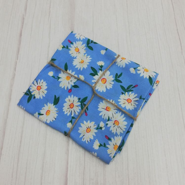 Quilting Fabric - Cotton Square with Daisies on Blue by Sew Cool