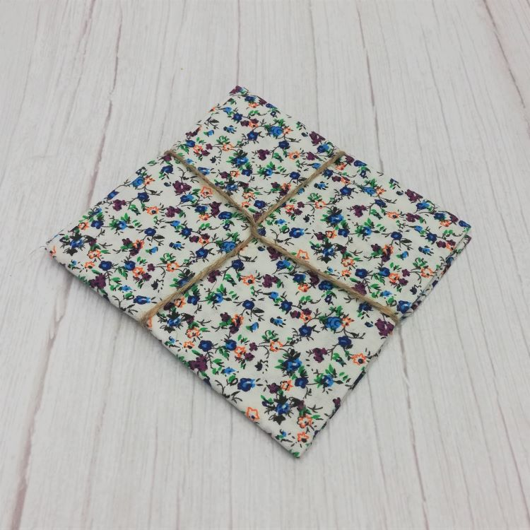 Quilting Fabric - Cotton Square with Ditsy Purple  Blue Floral On Snow by Sew Cool