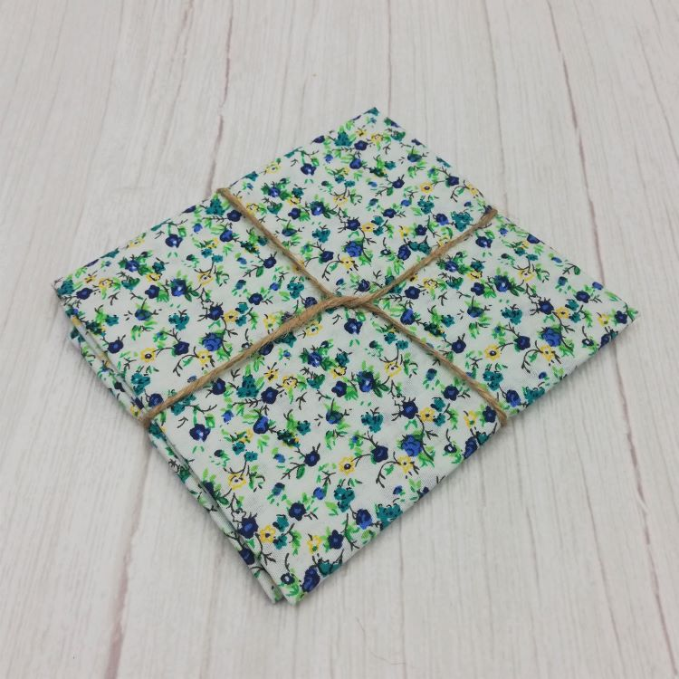 Quilting Fabric - Cotton Square with Ditsy Blue Yellow Floral On White by Sew Cool