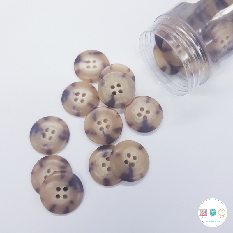 Light Tortoise Shell Effect Button - 20mm - Plastic - Flat Sew Through - Haberdashery
