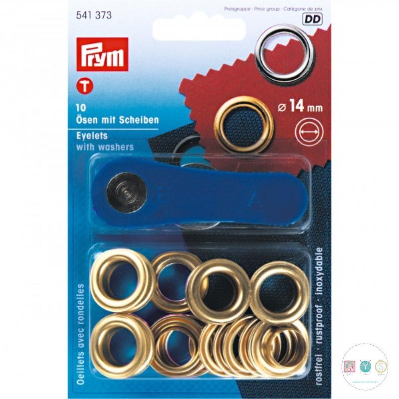Prym - Gold - 14mm - Eyelets & Washers - 541373 - Dressmaking & Bag Making