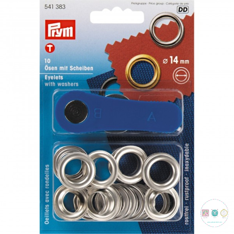 Prym - Silver - 14mm - Eyelets & Washers - 541383 - Dressmaking & Bag Making