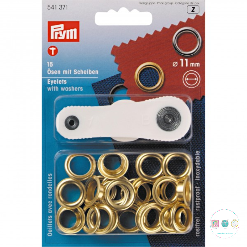 Prym - Gold - 11mm - Eyelets & Washers - 5413819 - Dressmaking & Bag Making Hardware