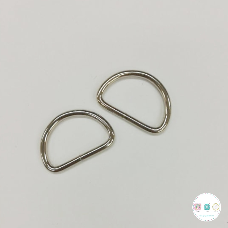 30mm Silver D-Ring - 2 Pack - Bag Making Equipment