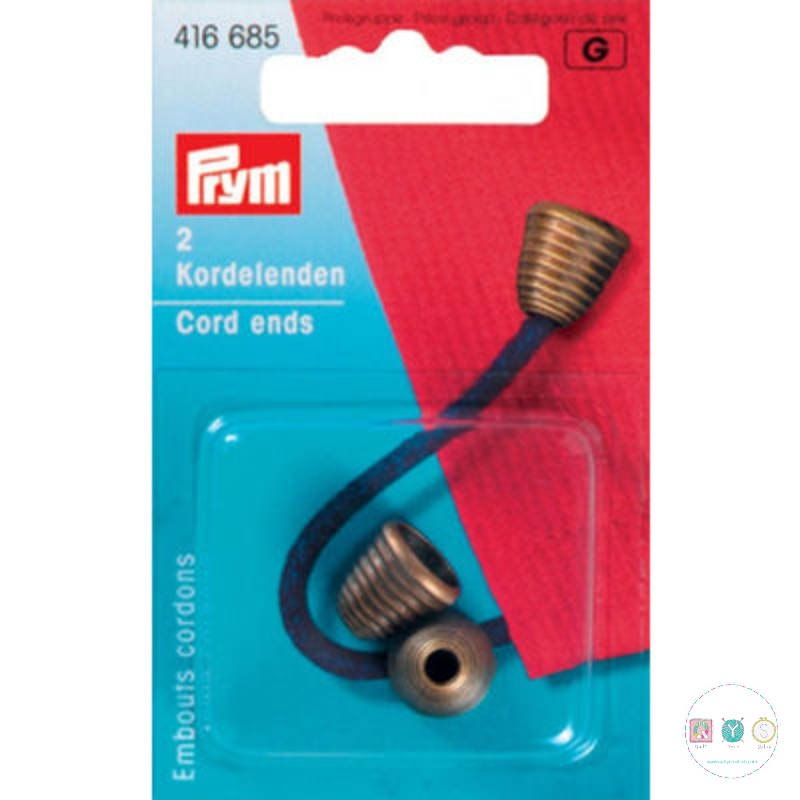 Prym Antique Brass Cord Ends 416685 - Dressmaking Accessories