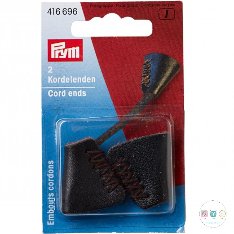 Prym Black Leather Cord Ends - 416695 - Dressmaking Accessories