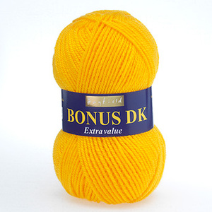 Hayfield Bonus DK Wool - Bright Lemon Yellow Knitting Yarn 819
