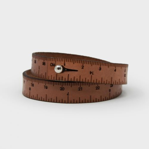 Gift Idea - Brown Leather Wrist Ruler Bracelet