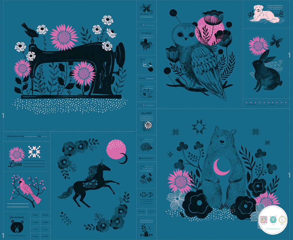 Ruby Star Society - Crescent - Moonlit Forest Teal Cotton Fabric Panel - by Sarah Watts for Moda Fabrics - Patchwork & Quilting