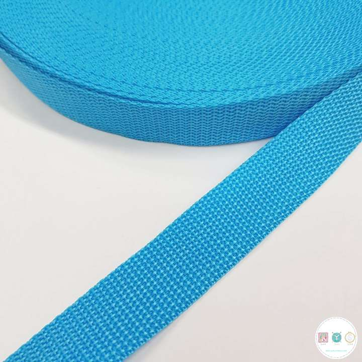 25mm Turquoise Blue - Polypropylene Webbing - Bag Strapping - Haberdashery