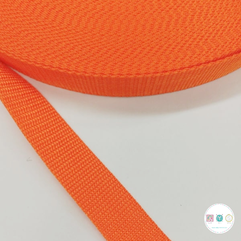 25mm Orange Polypropylene Webbing - Bag Strapping - Haberdashery