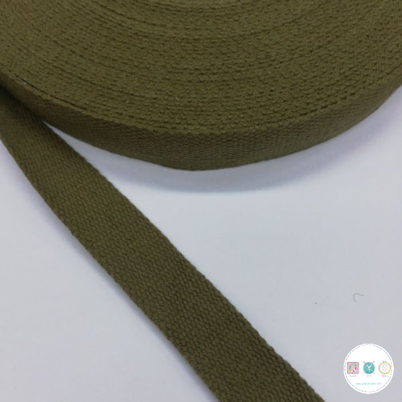 25mm Khaki Green - Cotton Webbing - Bag Strapping - Haberdashery