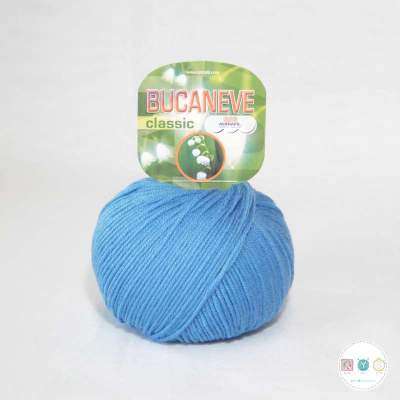 Adriafil Italian Yarn - Bucaneve 76 - Worsted - Mid Blue- 50g - Extra Fine Merino - 100% Wool
