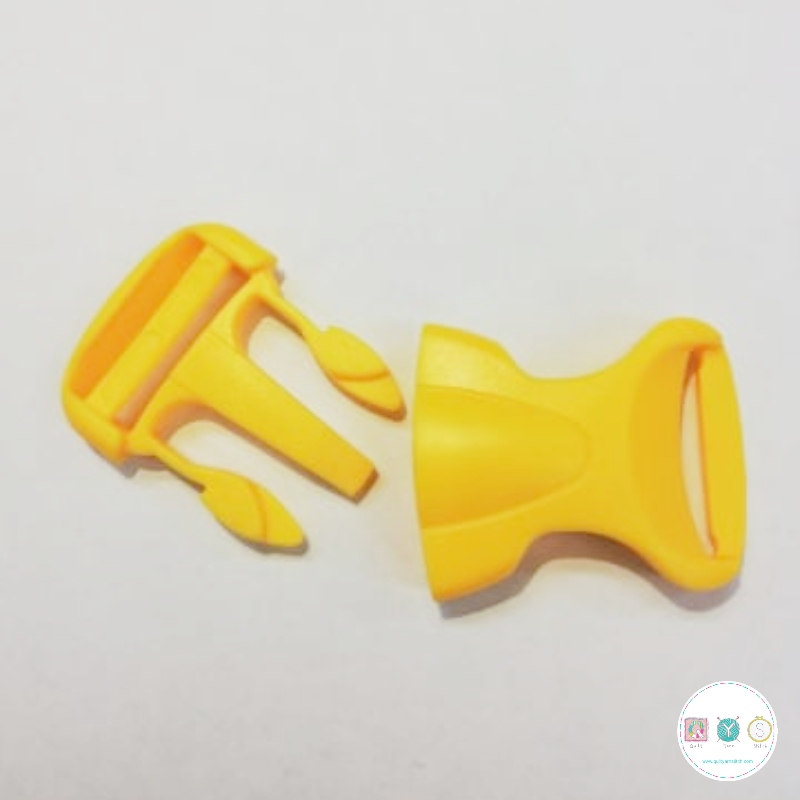 Bum Bag Clip - Yellow - Plastic - Side Release - 25mm - Buckle - Bag Hardware - Haberdashery