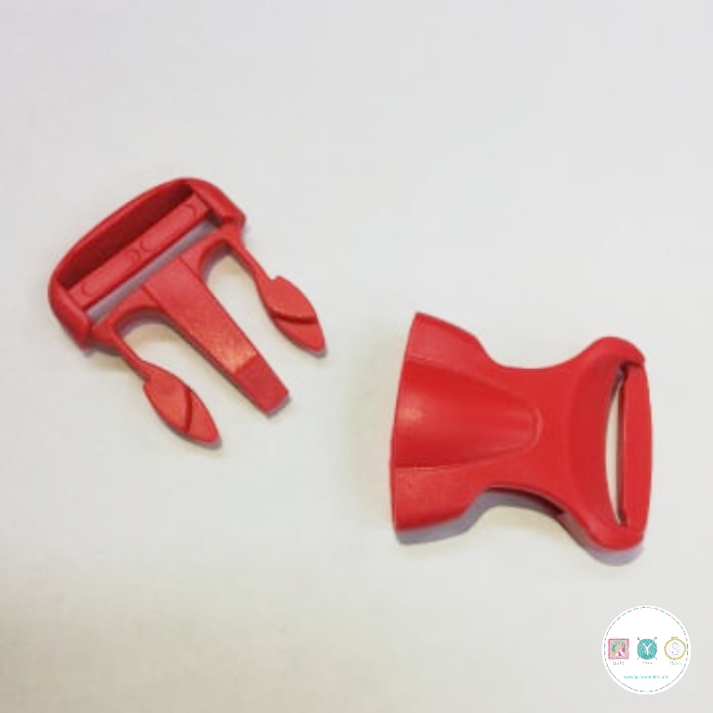 Bum Bag Clip - Red - Plastic - Side Release - 25mm - Buckle - Bag Hardware - Haberdashery