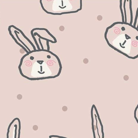French Terry Fabric with Bunnies on Pink from Avalana Collection