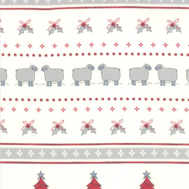 Christmas fabric with Sheep and Snowman Stripes from the Country Christmas Collection by Bunny Hill Designs for Moda