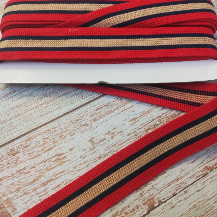 40mm KRCA Bag Strapping/Webbing in Red with Navy and Camel Stripe