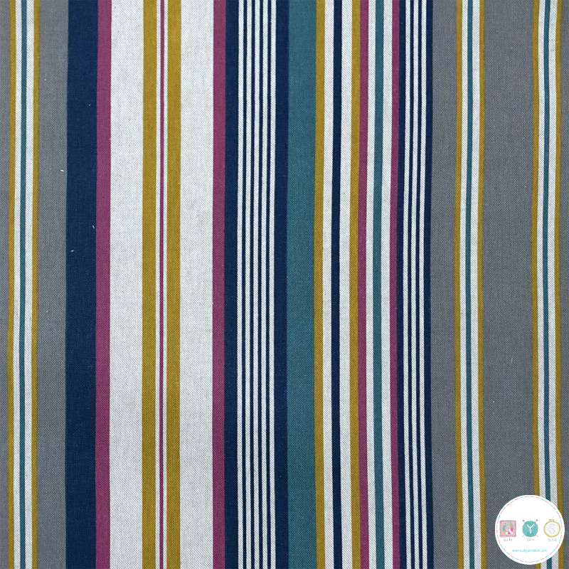 Linen Look printed with Stripes Petrol - 200gr/m2 - Multi Colour Stripe Canvas Fabric - Ottoman - Upholstery