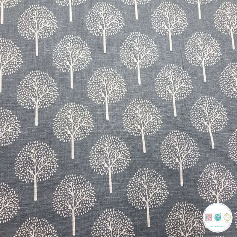 Trees on Grey - 200gr/m2 -  Canvas Fabric - Ottoman - Upholstery