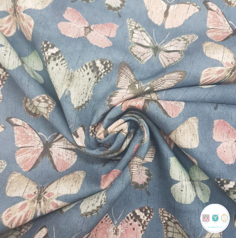 Butterflies On Blue - Digital - Cotton Canvas Fabric - 220gr/m2 - Dressmaking - Ottoman - Upholstery