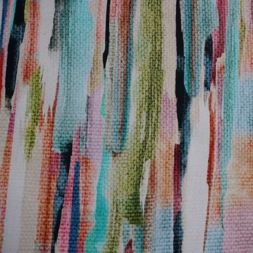 Cotton Canvas Fabric Digitally Printed Featuring Abstract Paint Strokes