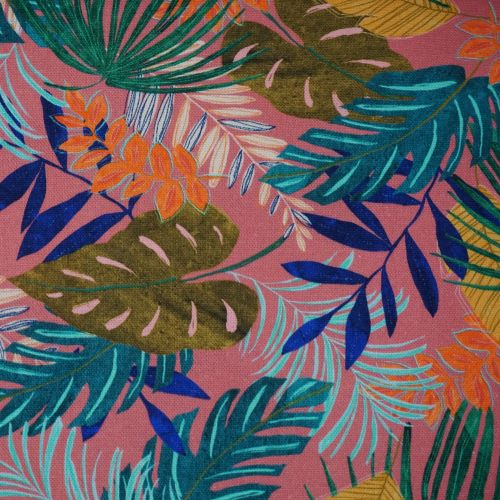 Cotton Canvas Fabric with Bright Tropical Leaves on Pink