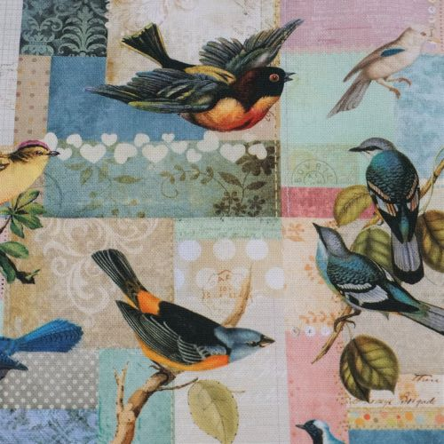 Cotton Canvas Fabric - Vintage Style with Tropical Birds