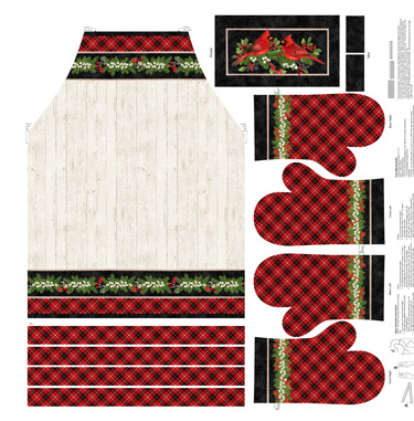 Cardinal Woods Apron & Gloves - Digital Fabric Panel - by Deborah Edwards for Northcott - Patchwork & Quilting