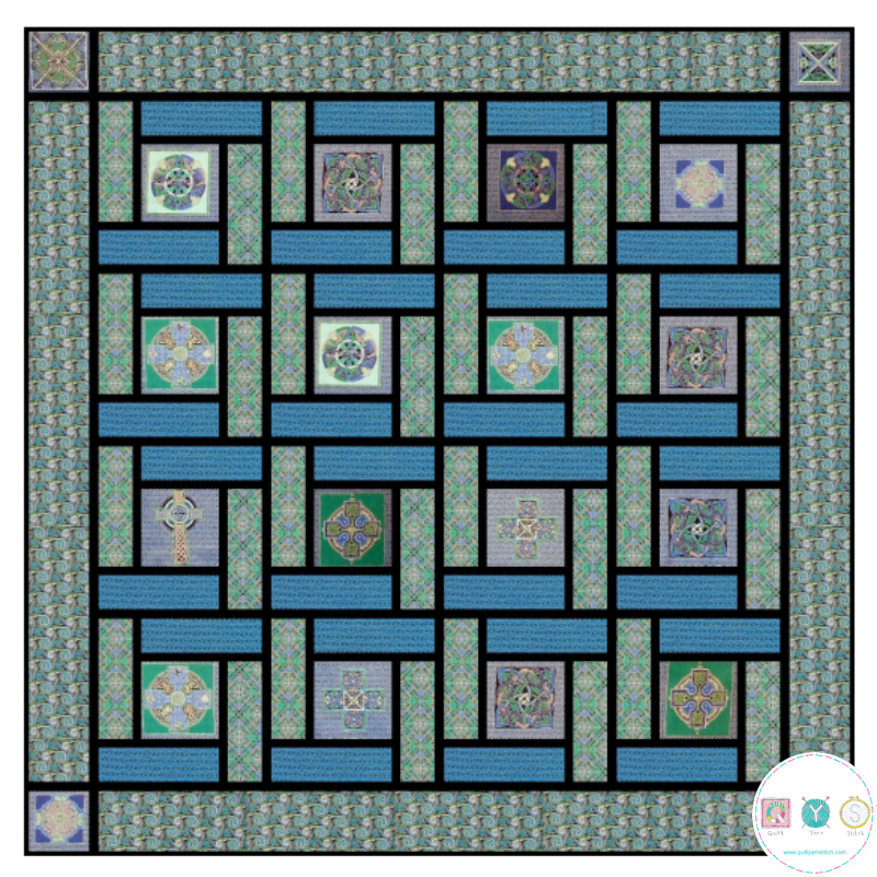 Blue Celtic Squares Quilt Top Kit - Designed by Sally Ablett for Fabric Freedom