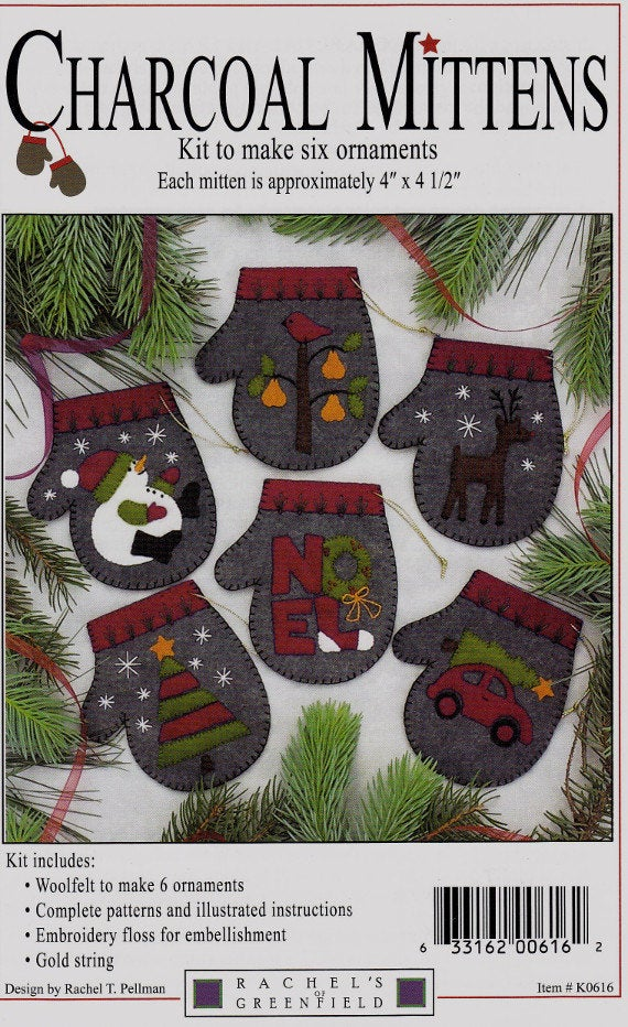 Gift Idea - Charcoal Mittens Wool Felt Ornament Kit by Rachel's of Greenfield