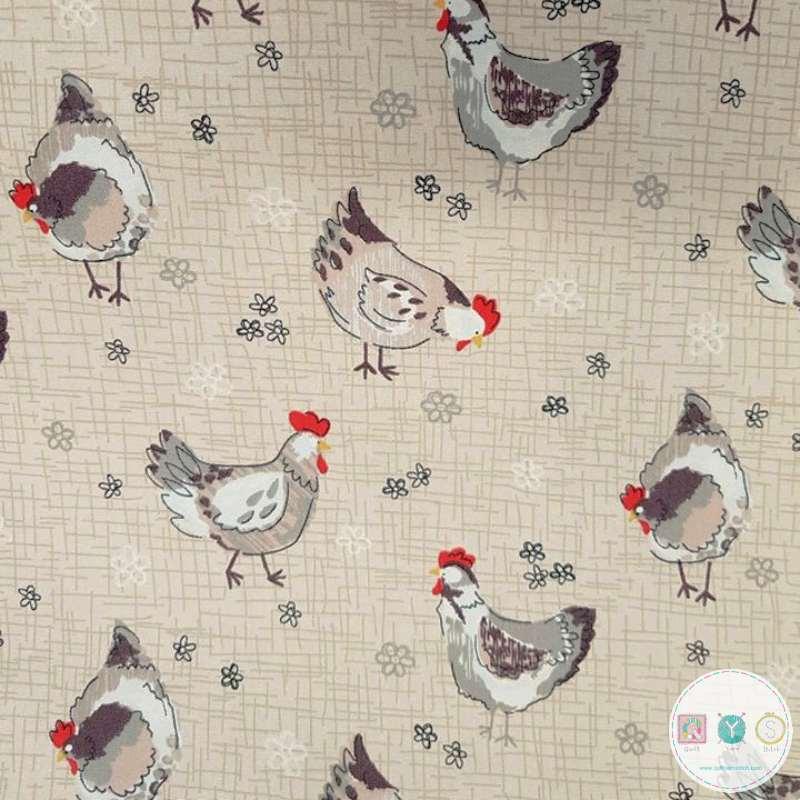 Hens On Beige - Chicken - Farm Fabric -Cotton Poplin - by Rose & Hubble - Craft & Dressmaking