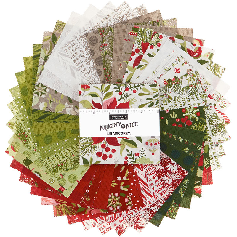 Christmas Fabric - Charm Pack from the Naughty Or Nice Collection by Basic Grey for Moda