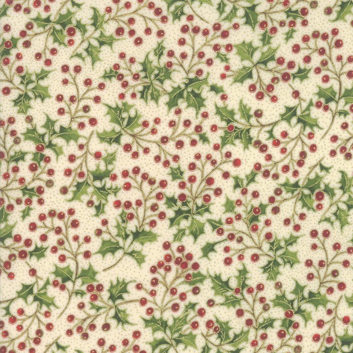 Christmas Fabric featuring Holly with Metallic Accents from the Poinsettias and Pine Collection by Moda