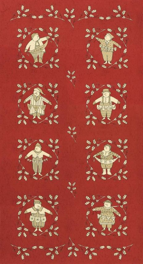 Christmas Fabric Panel with Snowmen - Snowbound Collection by Kathy Schmitz for Moda Fabric