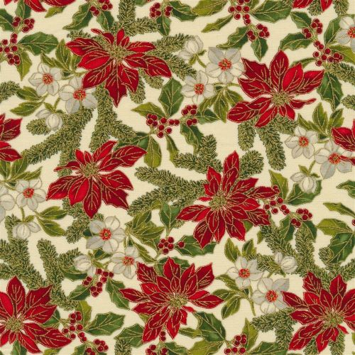 Christmas Fabric featuring Poinsettias with Metallic Accents from the Poinsettias and Pine Collection by Moda